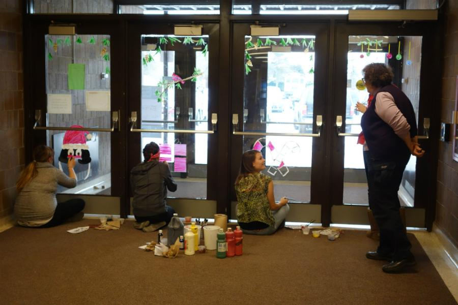 Art students at South Shore decorate the entryway to the High School.