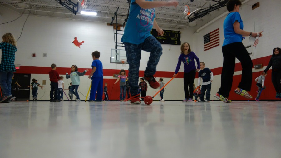 Elementary students prepare for their Jump Rope for Heart event March 30.