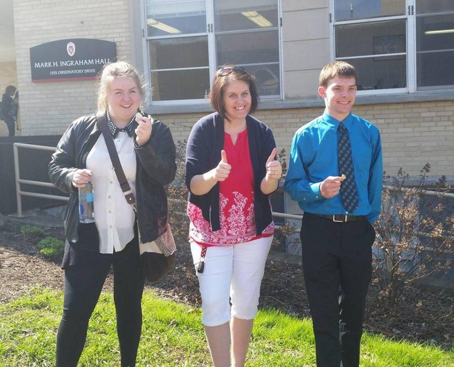 Signe Branham, Coach Lallemont & Hunter Schierman show off their awards for a job well done at State.