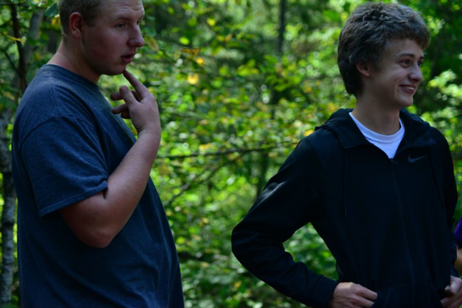 Chase and Andrew observing nature.