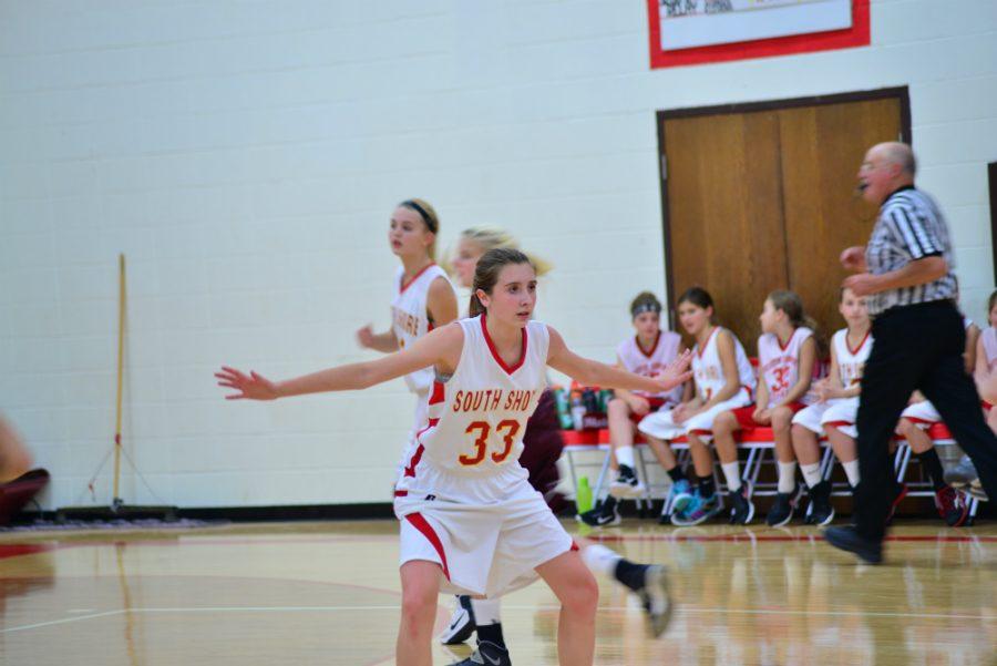 Eighth+grader+Natalie+Knaack+ready+for+defense.