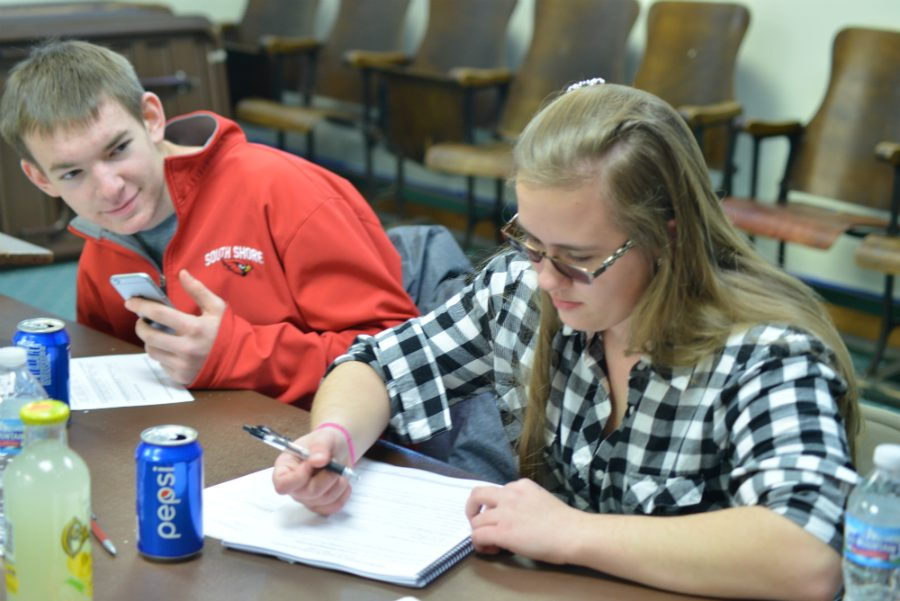Sophomores Sawyer Schierman and Elizabeth Kobie at the Lead and Seed training.