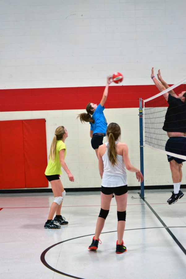 Chloe Sipsas, an 8th grader, goes up for the spike, challenging Mr.Tiberg.