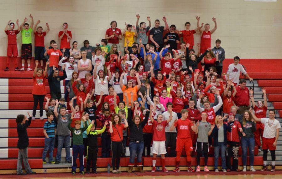 Students participate in the South Shore battle cry during the pep rally.