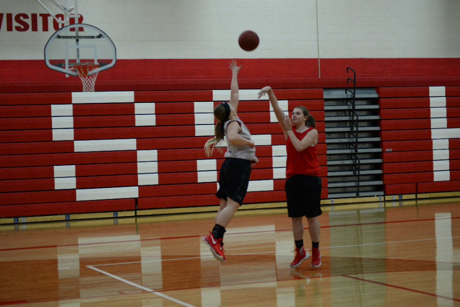 Heather Ranta & Morgan Rock practicing hard days prior to their first game.