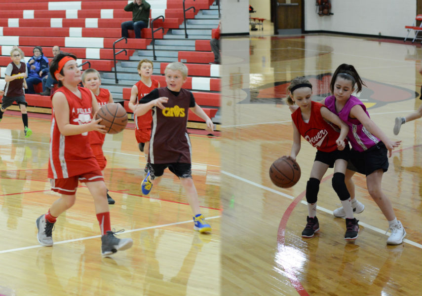 Left%3A+Third+grader+Sylas+Jardine+goes+in+for+a+basket.+Right%3A+Third+grader+Sophia+Truchon+dribbles+against+tough+defense.