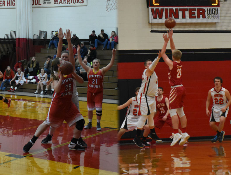 Left Image: Senior Heather Ranta goes up for a layup.  Right Image: Sophomore Douglas Hipsher shoots over the Winter defense.