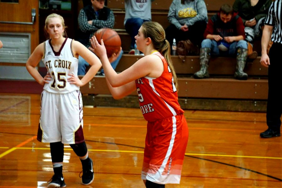 Heather Ranta, a senior, goes to shoot free-throws in game @ Solon Springs.