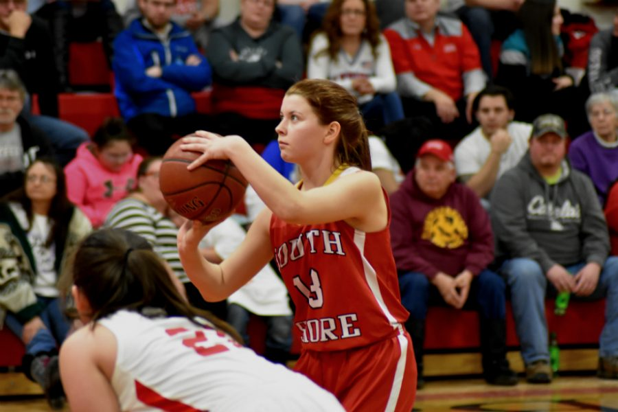 Myla Lahti, a junior, shoots her free-throws ending 10 for 15 from the line.