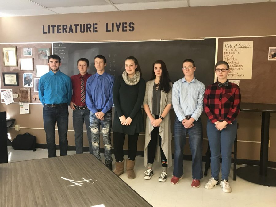 Happy to be presenting their hard work to their classmates. Bjorn Branham, Tad Davidson, Harley Nelson, Aurora Grant, Tiiara Lahti, Kevin Biolo, Alexis Crowley