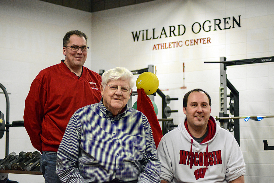 Kevin Kavajecz, Willard Ogren & Ryan Tiberg in the newly renovated weight room at South Shore.